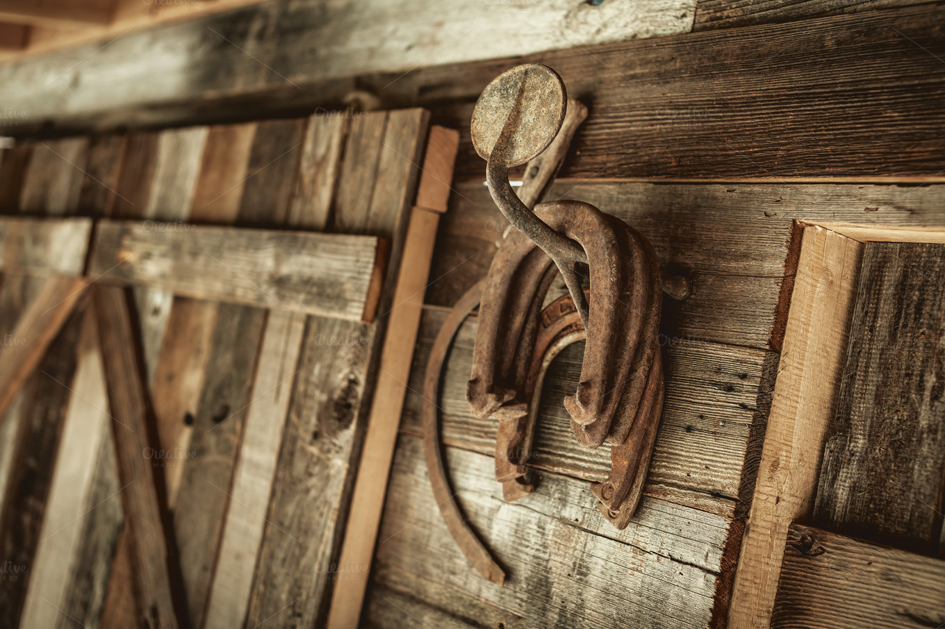 Rusty Hanging Horseshoes Photos On Creative Market