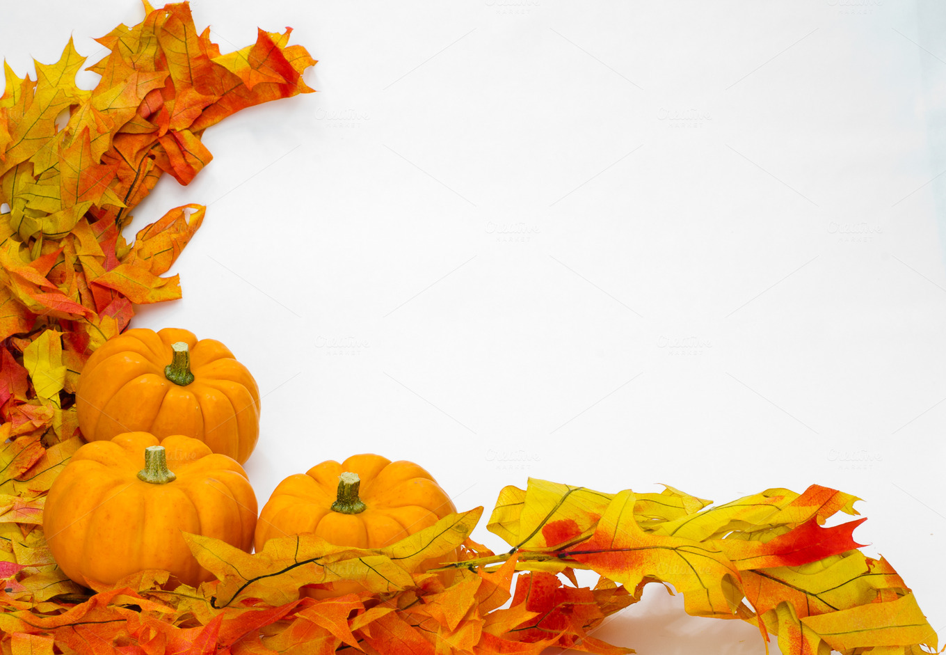 Fall Decorations With Leaves Holiday Photos On Creative Market
