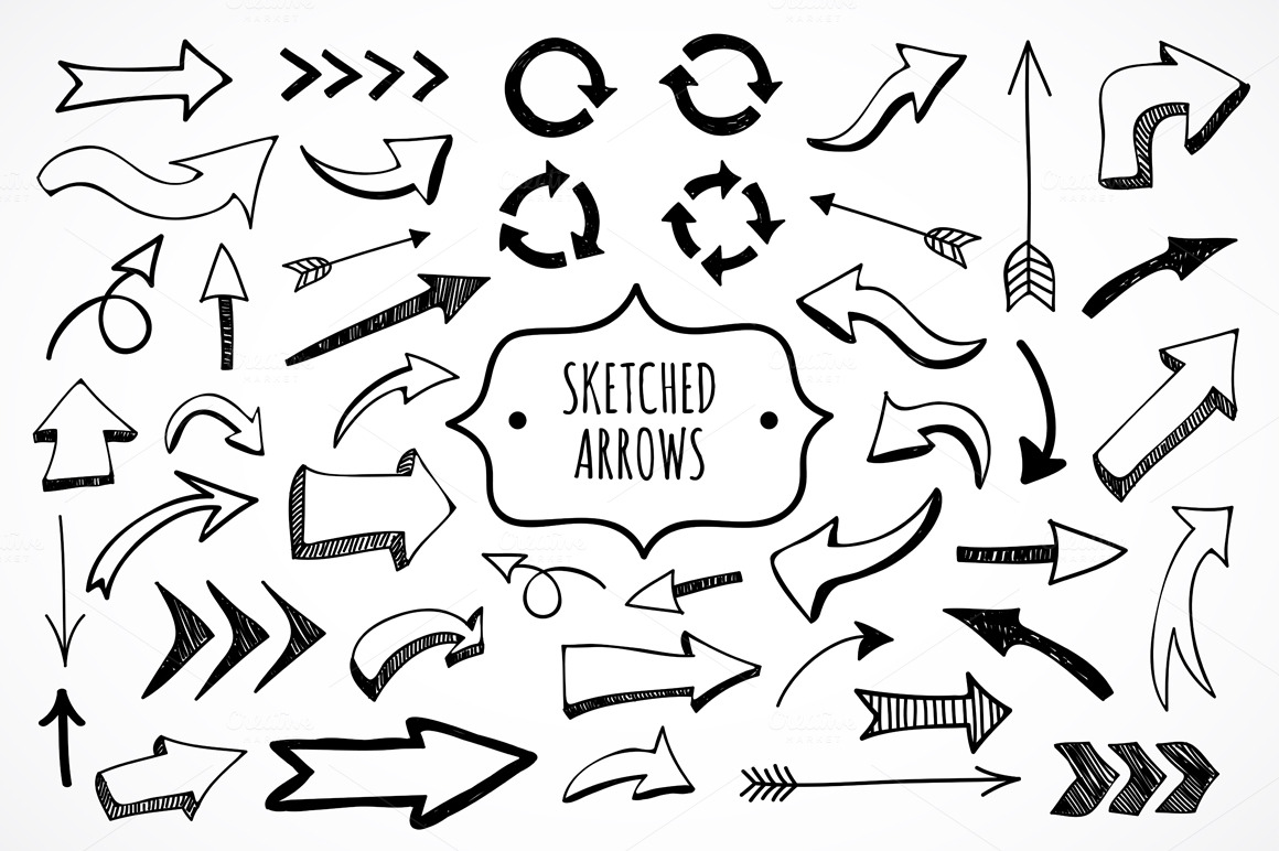 cute sketched arrows in vector illustrations on creative
