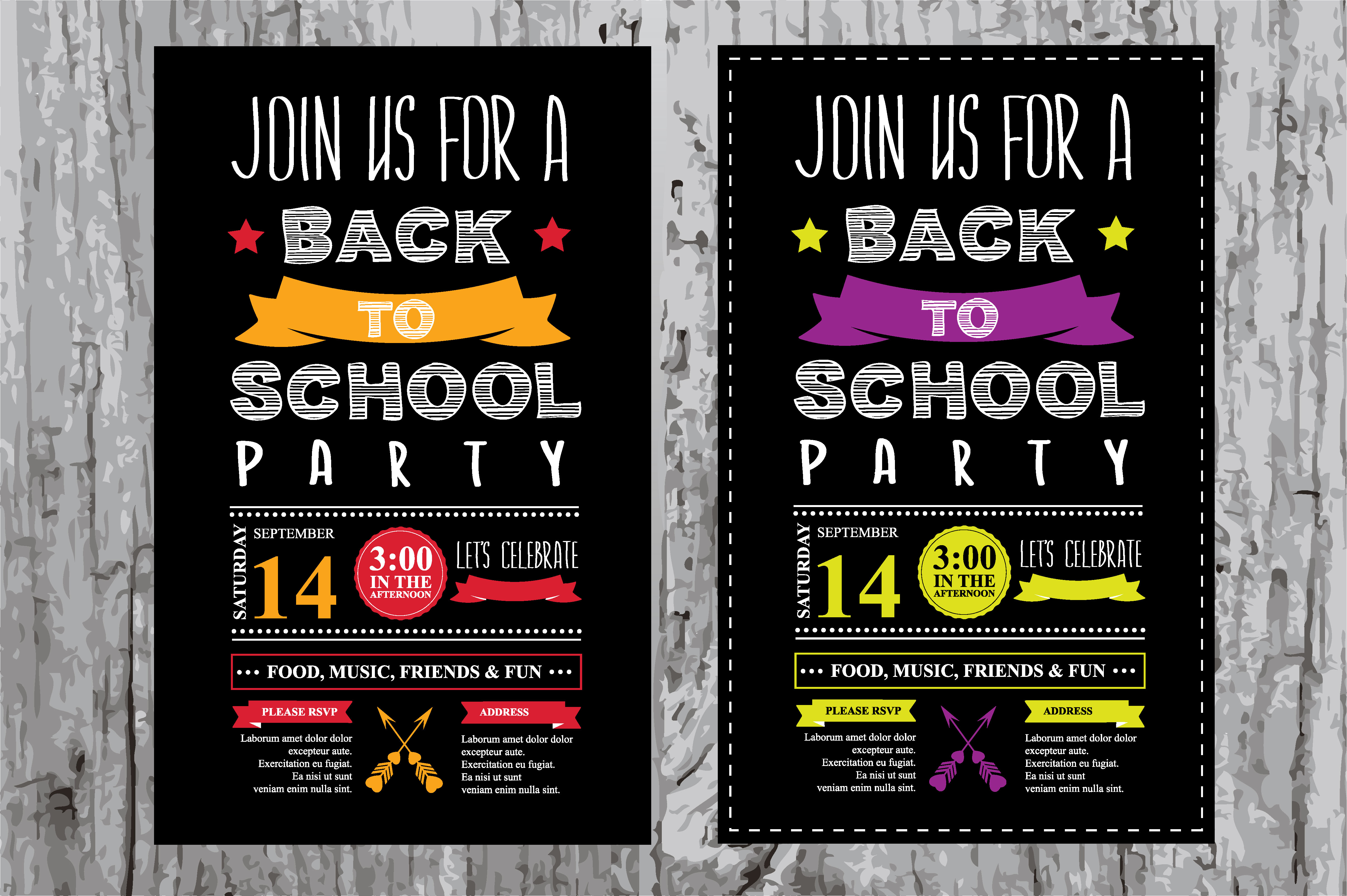 back to school party invitation invitation templates on creative market. Black Bedroom Furniture Sets. Home Design Ideas