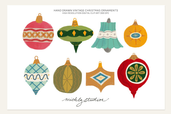Vintage Christmas Ornament Clipart - Illustrations - 1Vintage Christmas Ornaments Clipart