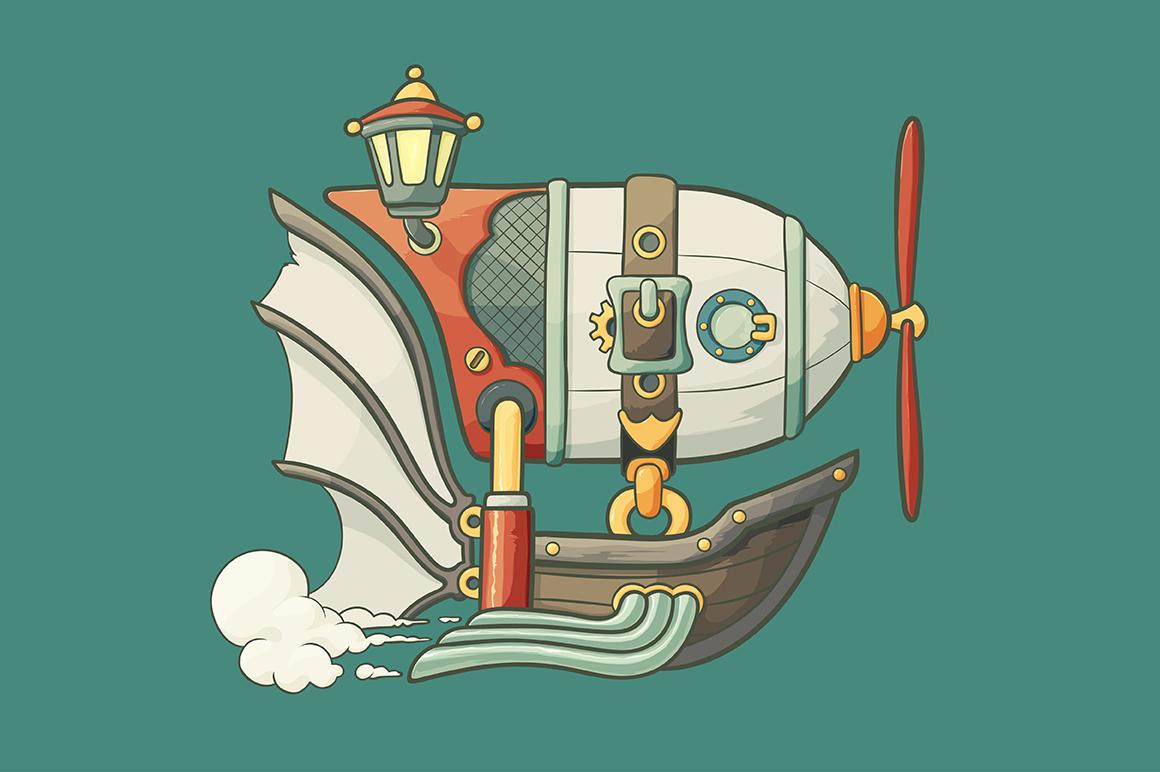 Cartoon Steampunk Styled Airship Illustrations On