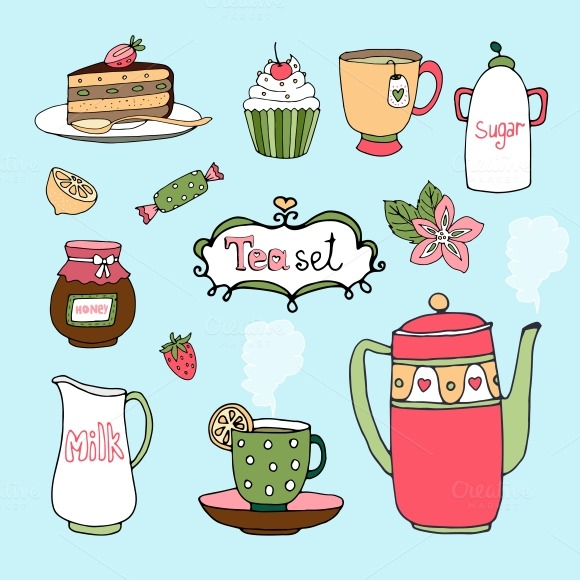 Clipart Of Honey Cake : Hand-drawn tea set ~ Illustrations on Creative Market