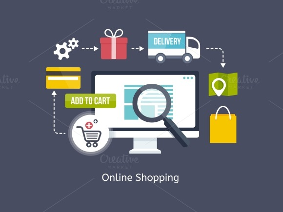 Online shopping process infographic illustrations on for Unique online shopping websites