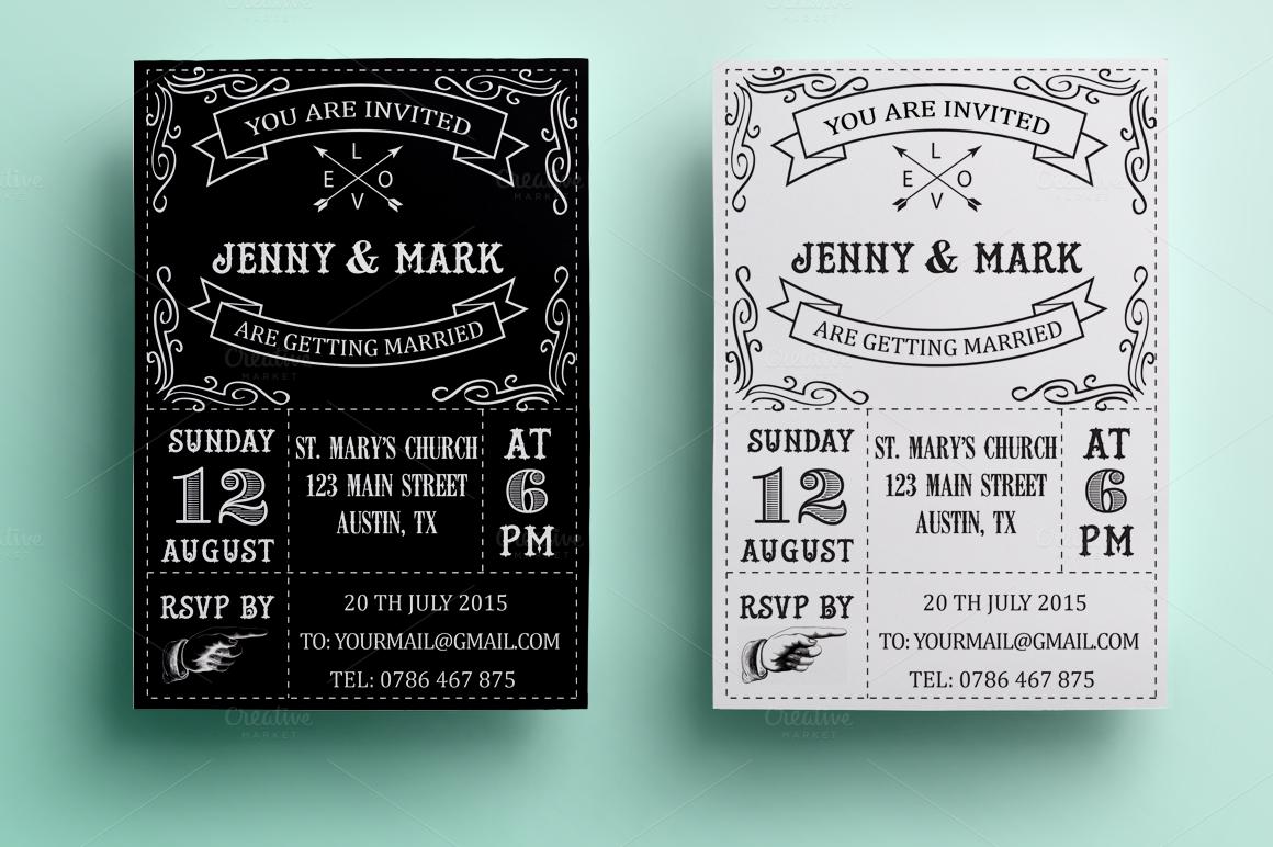 Email Wedding Invitations Free Templates: Retro Wedding Invitation