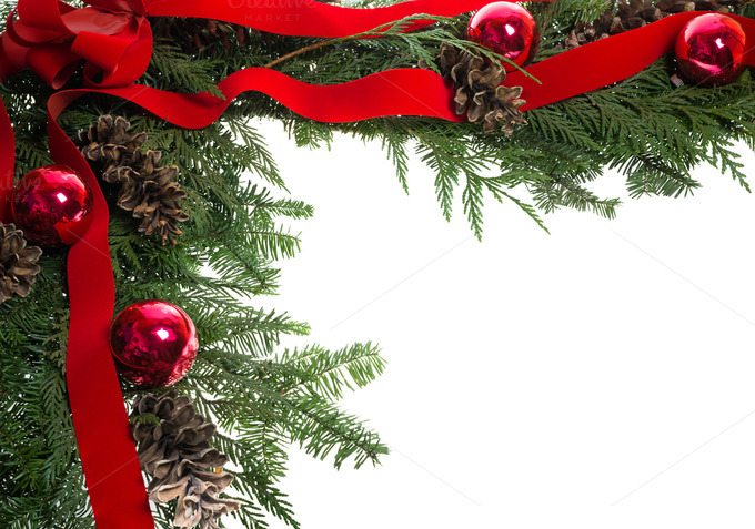 Christmas corner border with red bow holiday photos on