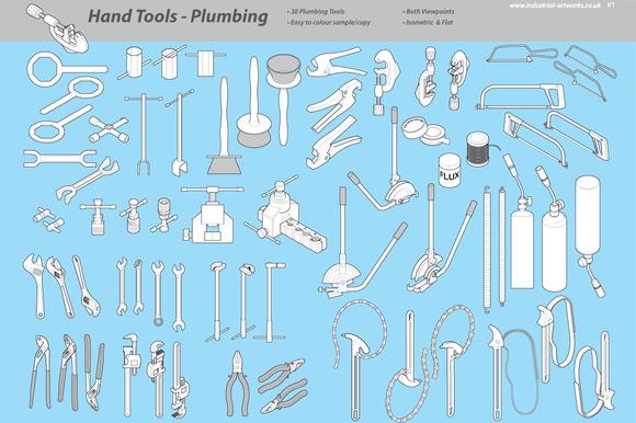 Handheld plumbing tools objects on creative market