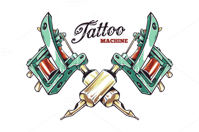 Tattoo machine illustrations on creative market for Tattoo machine online shopping in india