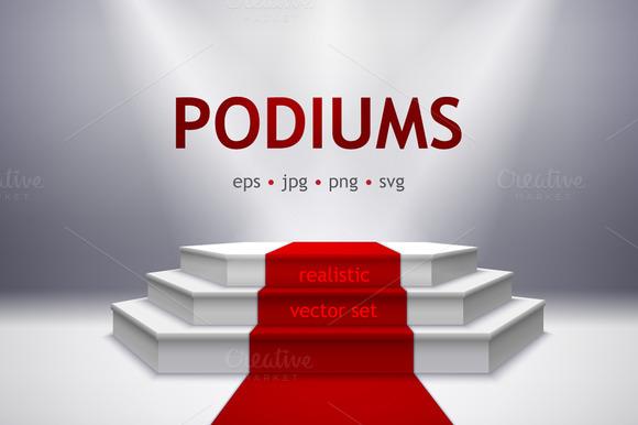 Podiums Realistic Vector Set