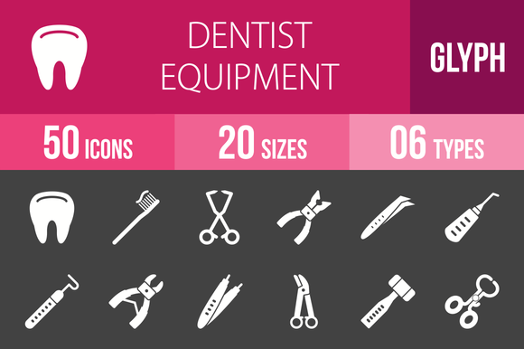 50 Dentist Glyph Inverted Icons