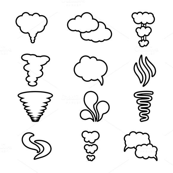 Steam Cloud And Smoke Icons Set