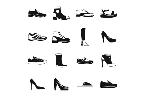 Shoe Icons Set In Simple Style