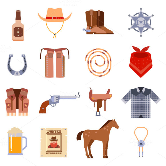 Vector Western Cowboys Icons