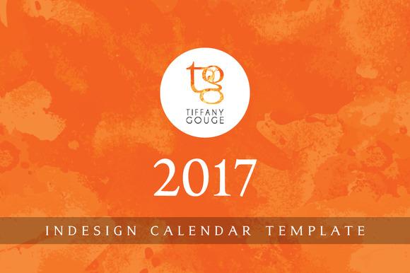 calendar template 2017 indesign stationery templates on creative market. Black Bedroom Furniture Sets. Home Design Ideas