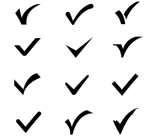 Confirm Tick Mark Vector Icons Set