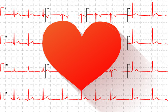 Electrocardiogram Graph With Heart