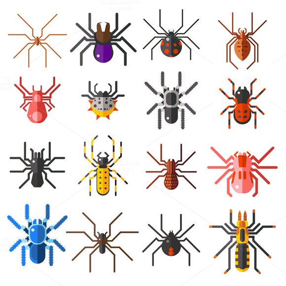 Flat Spiders Vector Set