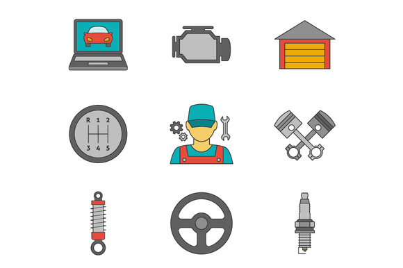 Auto Service Flat Line Icons Vol 2