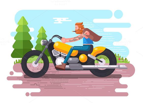 Tattooed Biker Man On Speed