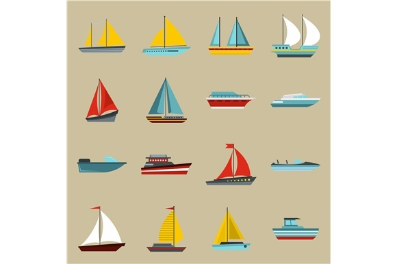 Boat And Ship Icons Set Flat Style