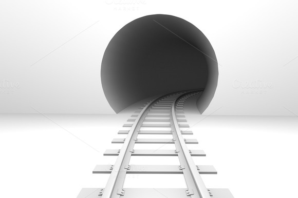 Railway In Tunnel Entrance