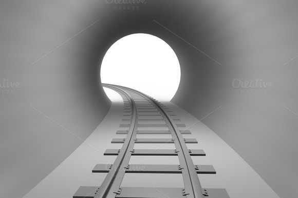 Railway In Tunnel Exit