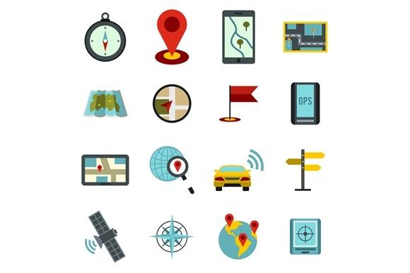 Navigation Icons Set Flat Ctyle