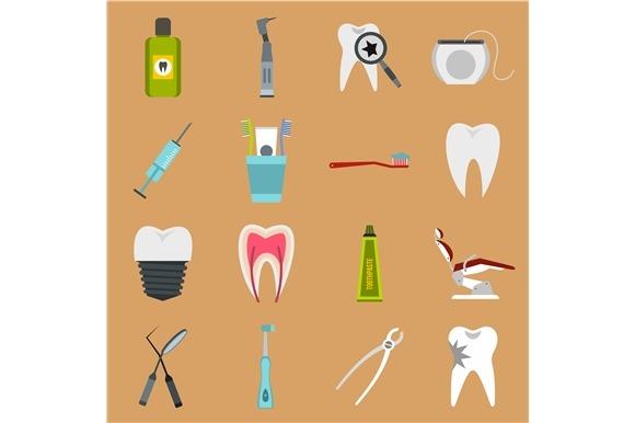 Dental Icons Set Flat Style
