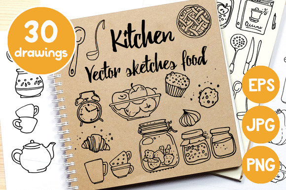 Kitchen. Vector sketches food - Illustrations