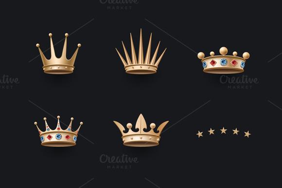 Set Of Royal Gold Crowns