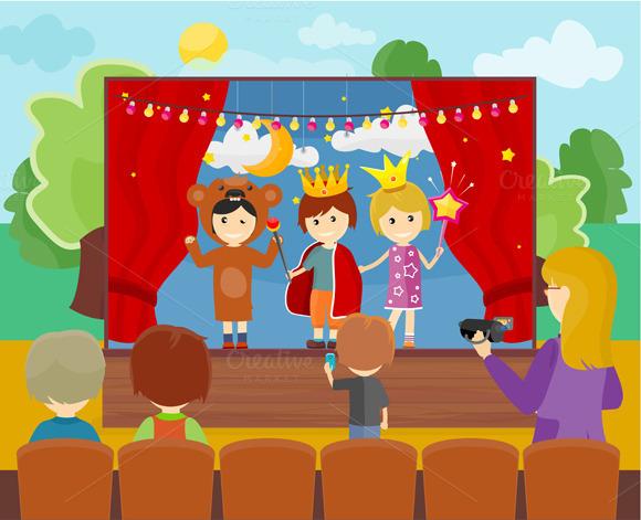 Children In Costumes Performing