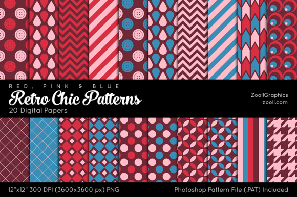 Retro Chic Digital Papers