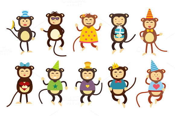 §іartoon Vector Christmas Monkey
