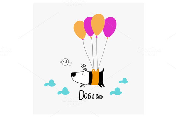 Dog Bird Flying With Balloons