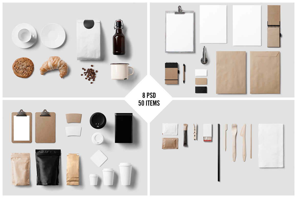 Coffee stationery branding mock up product mockups on for Food bar mockup
