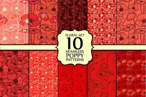 Floral set. Poppy. - Patterns