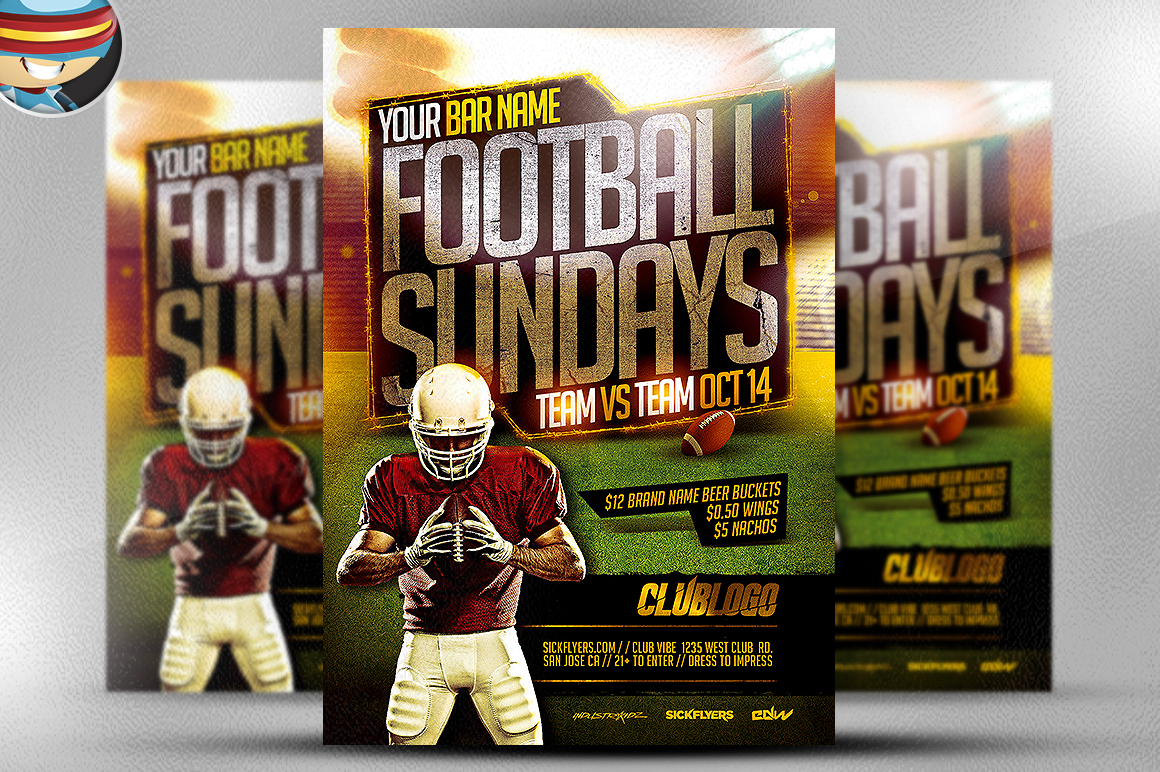football sundays flyer template 2 flyer templates on creative market. Black Bedroom Furniture Sets. Home Design Ideas