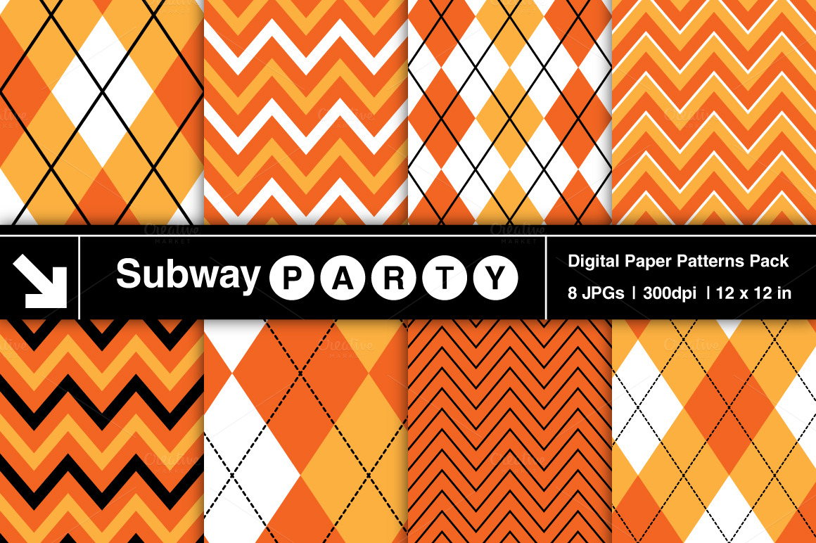 Candy corn argyle chevron patterns on creative market