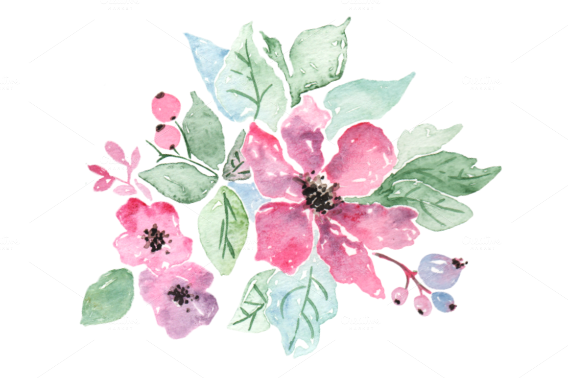 Pastel Pink Purple Flowers Clip Art Illustrations On