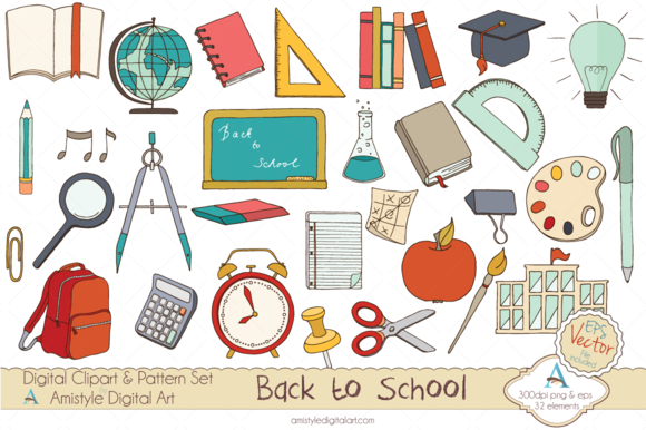 Back to School Set Clipart&Vector ~ Illustrations on ...