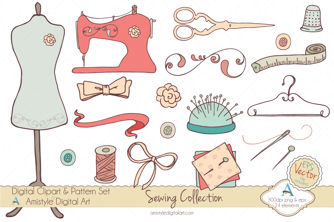 Sewing Collection Clipart Amp Vector  Illustrations On