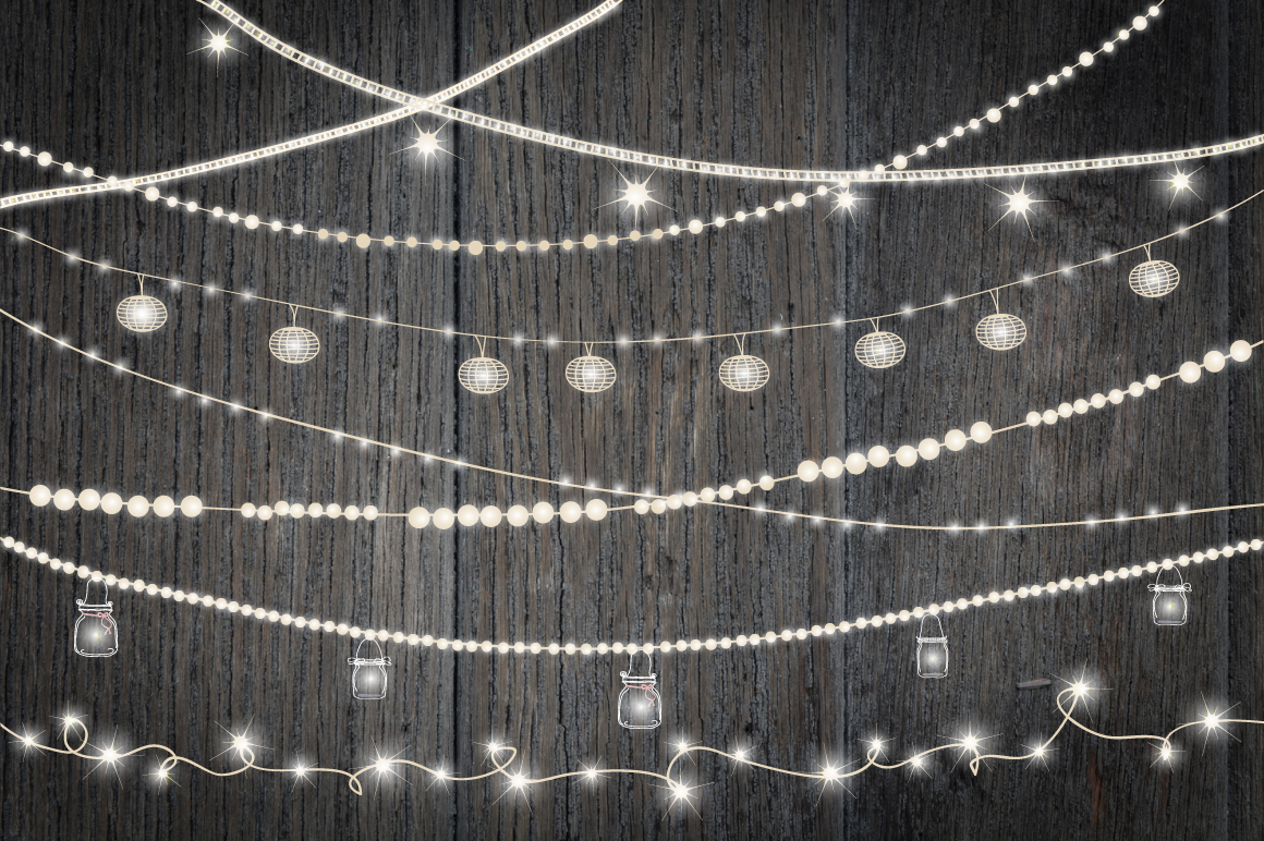 String Of Lights Background : String Lights Clip art ~ Objects on Creative Market