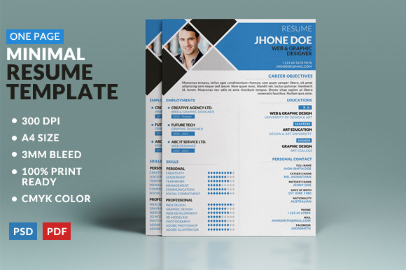 minimal one page resume template