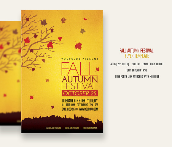 Fall Festival Flyer Template | TeamTracTemplate's