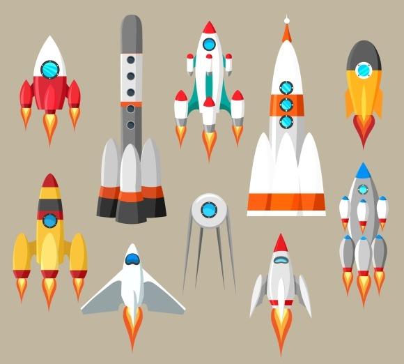Cartoon Rockets Icons