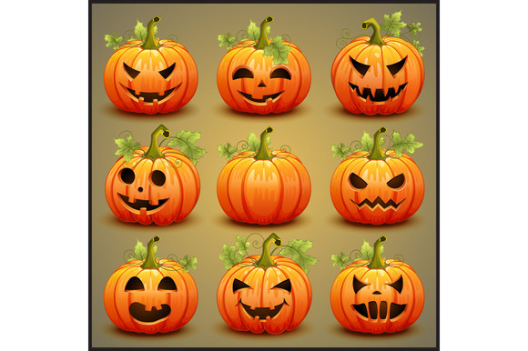 Big Set Of Pumpkins For Halloween