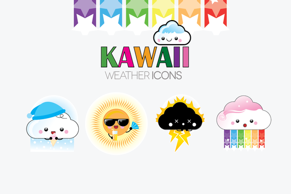 Kawaii Weather Illustrations