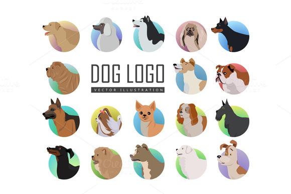 Set Of Dog Vector Logos