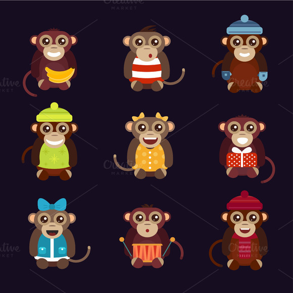 Cartoon Vector Christmas Monkey