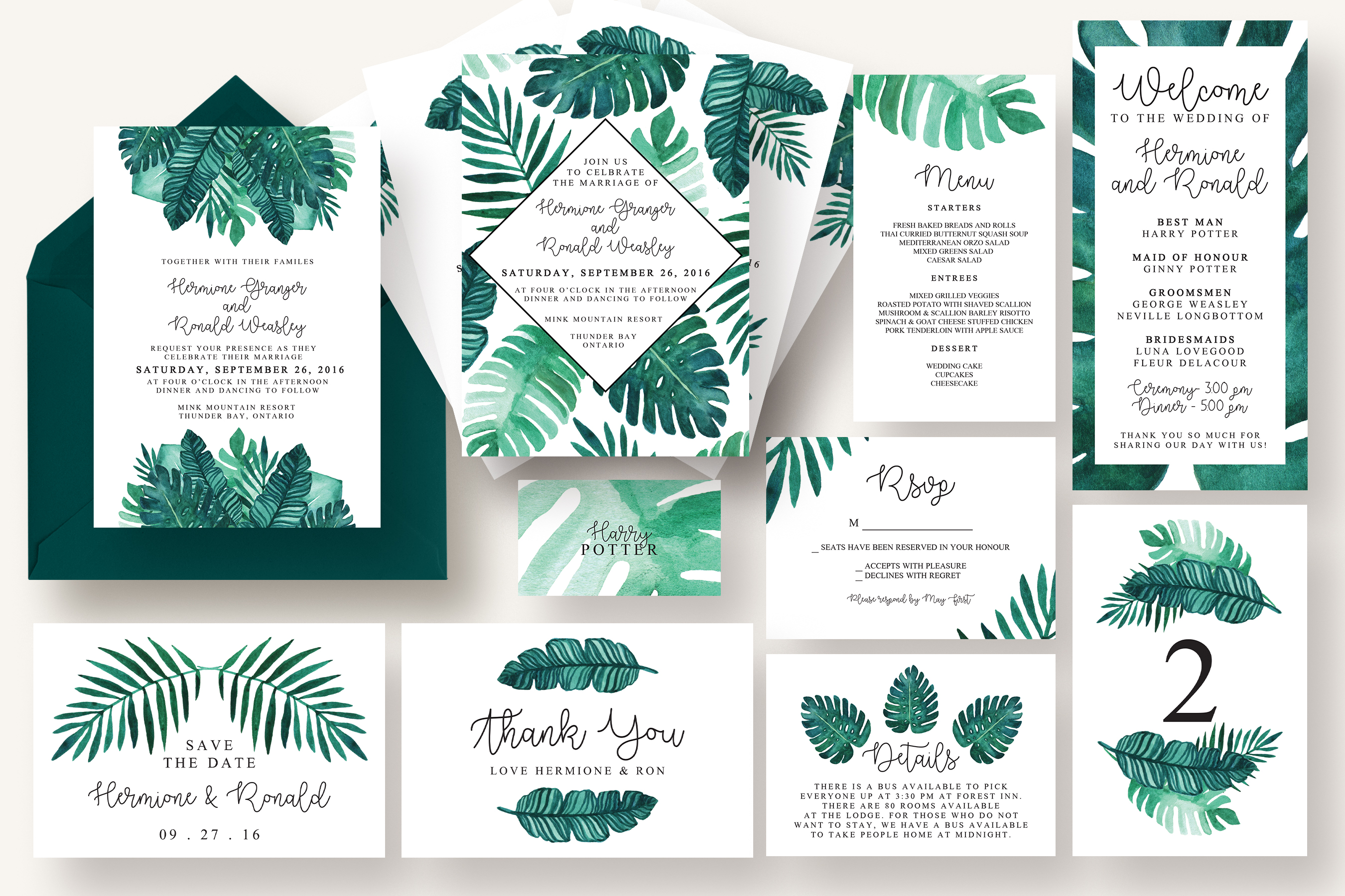 Tropical leaves invitation suite invitation templates on creative market for Tropical invitation template